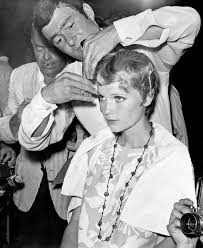 mia farrow receiving her iconic hair cut from vidal sassoon for