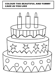 beautiful cake coloring printable page for kids