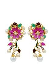 karigari earrings golden jhumka earrings with white chaign jhumka