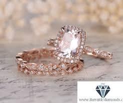 7x9mm art deco cushion cut morganite engagement ring set matching