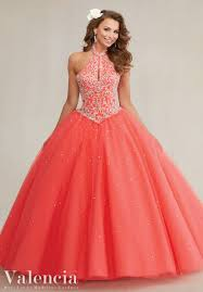 quinceanera dresses coral 89084 embroidery and beading on a tulle quinceanera dress the