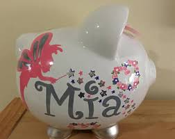 silver piggy bank for baby unicorn piggy bank etsy