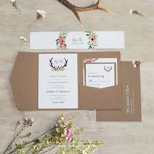pocket fold eco kraft pocketfold floral antler i wedding invitation