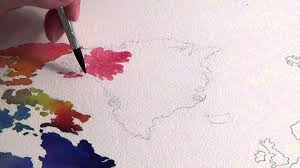 World Map Stencil Watercolor World Map Youtube