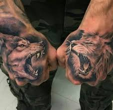 dope wolf vs lion hand tattoos wolf lion hand tattoo art