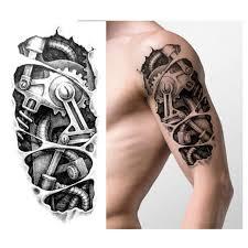 temporary tattoos black mechanical arm transfer