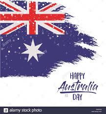Austailia Flag Happy Australia Day Poster With Australian Flag In Brush Strokes
