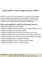 Resume For Medical Records Top 8 Medical Records Manager Resume Samples