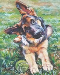 german shepherd dog art canvas print of lashepard painting