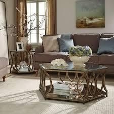 colored coffee tables standard furniture santa barbara 2 piece hexagonal glass top