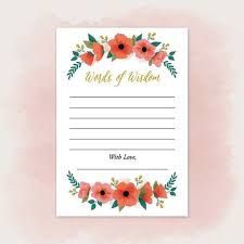 words of wisdom cards for bridal shower printable words of wisdom cards for wedding pdf to diy