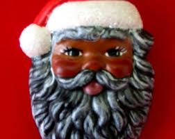 american santa claus and his elves lighted black santa