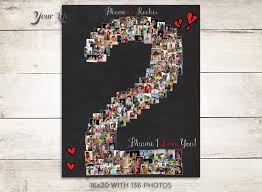 anniversary gifts for him 2 years 2 year anniversary 2nd anniversary gift photo collage