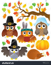 thanksgiving owls thematic set 1 eps10 stock vector 710737468