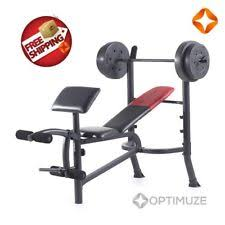 Lift Bench Bench Press 80lbs Weight Plates Home Gym Workout Lift Bicep Curl