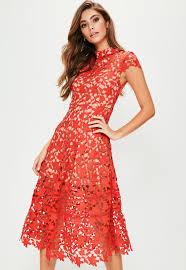 lace dress sleeve lace midi skater dress missguided