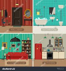interiors living room kitchen bathroom hall stock vector 345977798