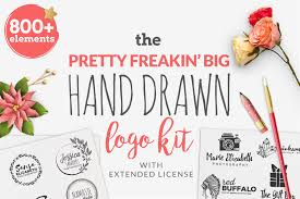 the pretty freakin u0027 big hand drawn logo design bundles