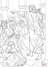 jesus chasing the money changers from the temple coloring page