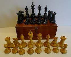 antique english jaques staunton chess set with red crown marks c