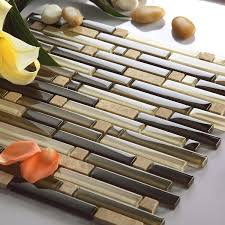 Strip Glass Tiles Brown Mixed Clear Glass Mosaic Tiles For Kitchen - Stone glass mosaic tile backsplash