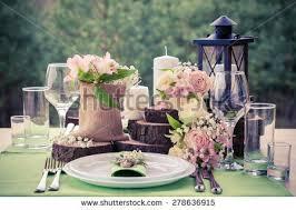 Wedding Table Setting Wedding Table Setting Rustic Style Stock Photo 278636915
