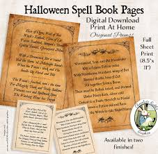 halloween witch spell book pages digital download printable