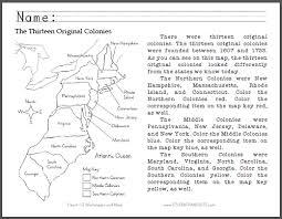 thirteen original colonies map primary worksheet free to print