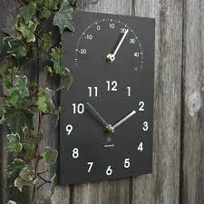 slate outdoor clock and thermometer outdoor designs
