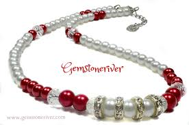 long pearl beaded necklace images White red pearl crystal rhinestone necklace bracelet jpg