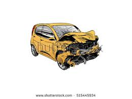 hand drawn car crash illustration auto stock vector 515445934