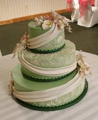wedding cake green olive green buttercream iced 3 tier wedding cake decorated