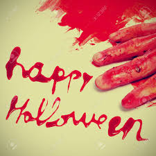happy halloween scary images sentence happy halloween written with blood and a scary and bloody
