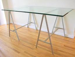 Table Glass Top Glass Top Table Desk With Industrial Metal Trestle Bases Decofurnish