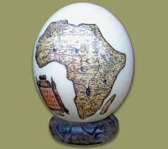 painted ostrich egg egg decoupage map africa 1