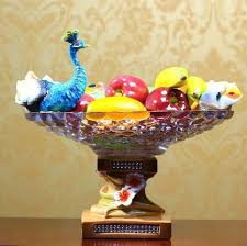 european resin large animal ornaments crafts fruit plate glass