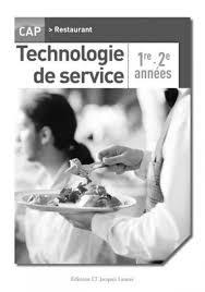 livre cap cuisine livre technologie de service cap cuisine 1ère et 2e ées