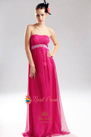 pink strapless prom dress empire waist chiffon evening gowns