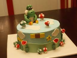 yoshi baby shower cake buttercream frosting with fondant