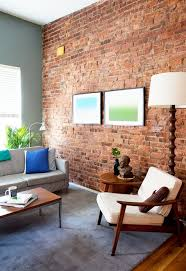 best living rooms with exposed brick walls