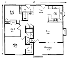 Floor Plans With Measurements Cottage Style House Plan 3 Beds 1 00 Baths 1200 Sq Ft Plan 409 1117