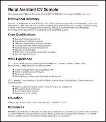 Computer Skills On Resume Examples by Floral Assistant Cv Sample Myperfectcv