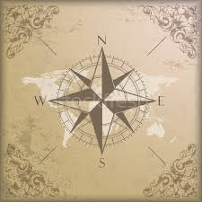 vintage background edge ornaments compass world map vector