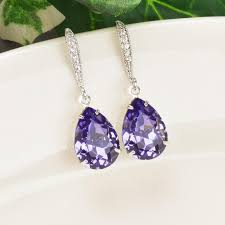 purple earrings purple earrings tanzanite swarovski teardrop earrings silver