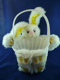 rabbit easter basket woven plastic plush bunny rabbit easter basket by fact and