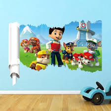 Paw Patrol Cartoon D Wall Stickers Home Decor Kids Rooms - Kid room wallpaper