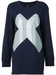 norma kamali reflective u0027x u0027 boyfriend sweatshirt navy women