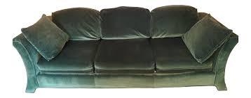 Broyhill Loveseat Prices Broyhill Emerald Green Velvet Sofa Chairish
