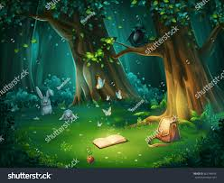 vector cartoon illustration background forest glade stock vector