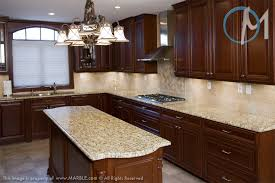 dark cabinets with new venetian gold granite and tumbled marble